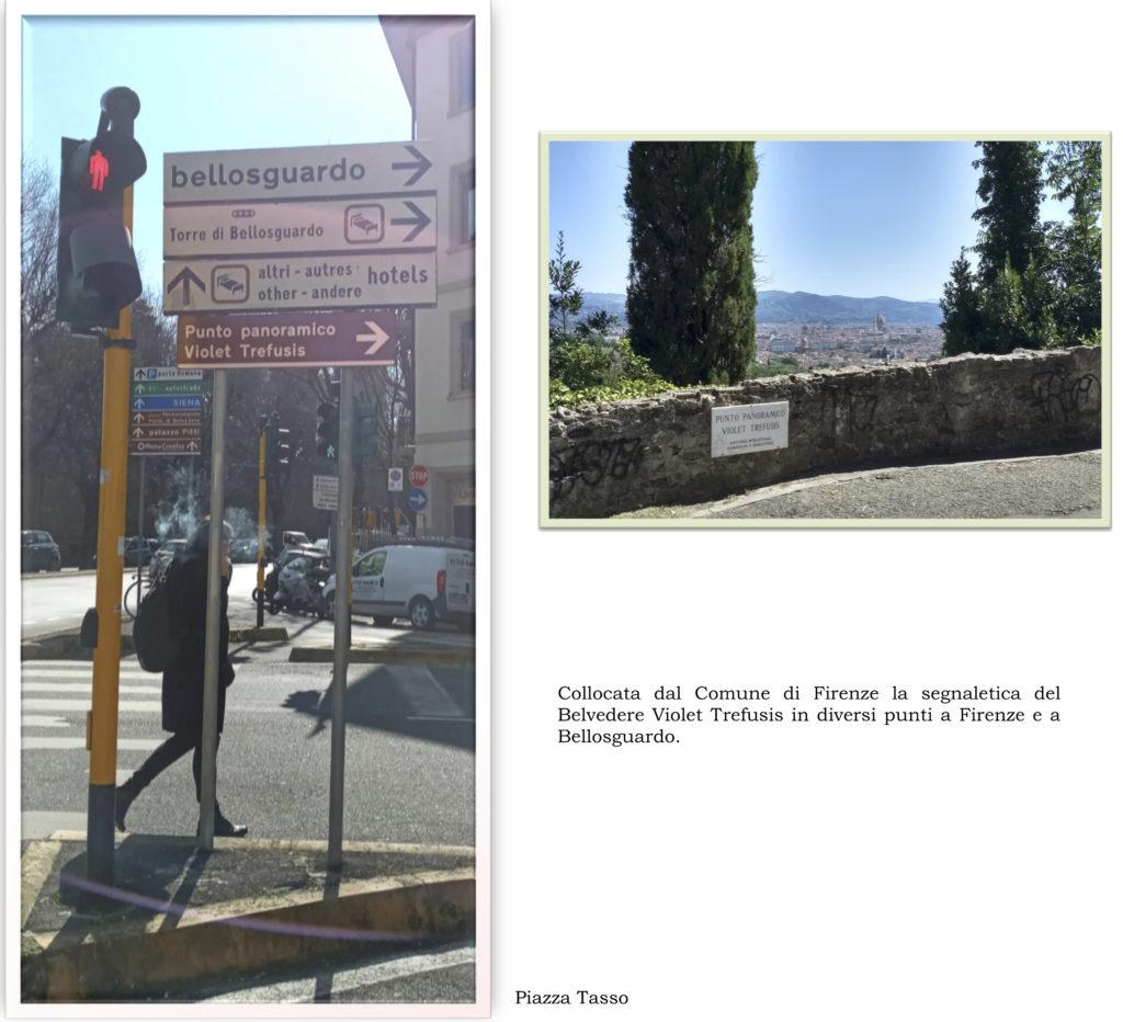 La nuova segnaletica stradale per il Belvedere Violet Trefusis.